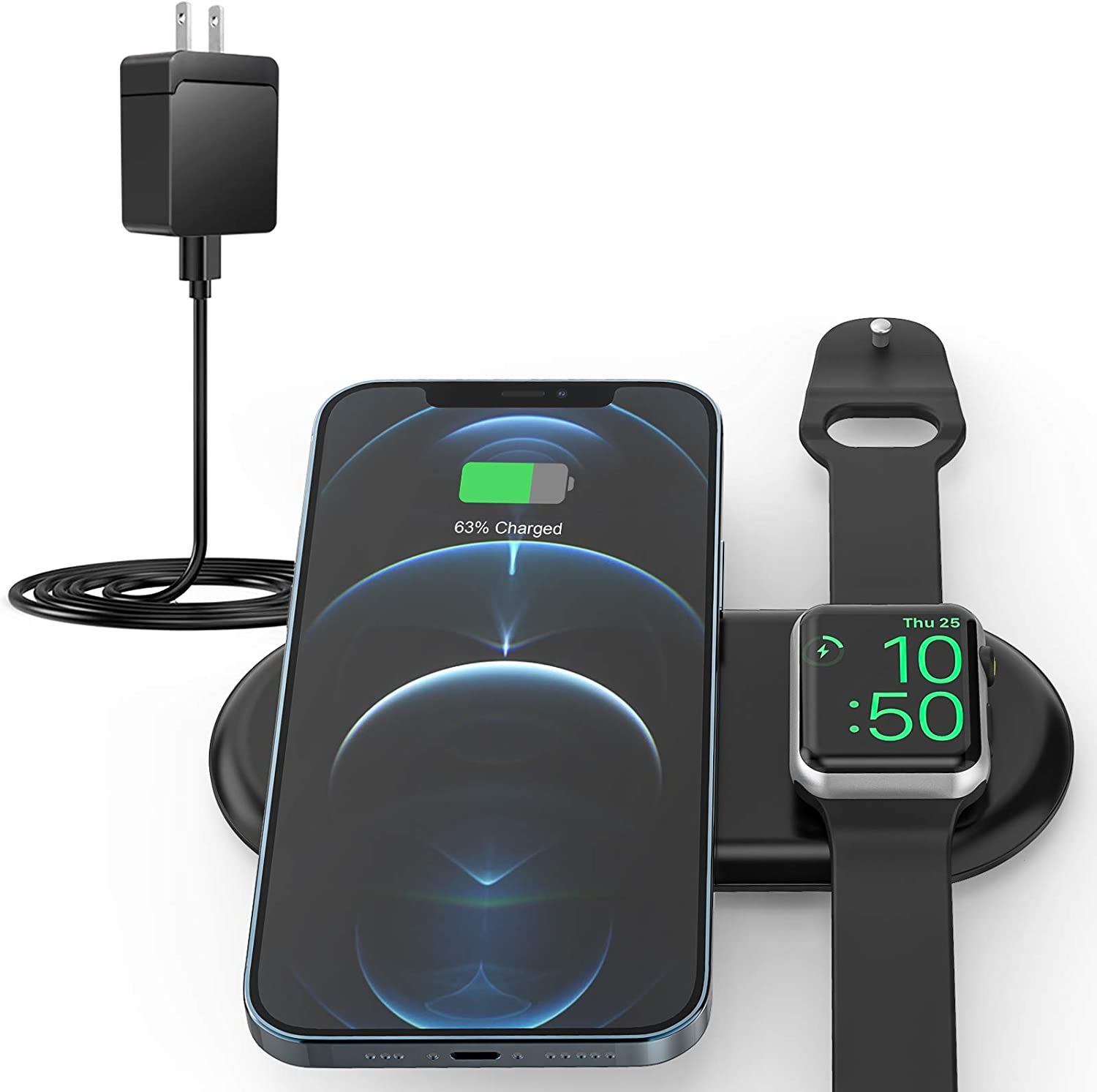 Update Wireless Charging Station Dock,2 in 1 Portable Wireless Charger Pad Compatible Apple Watch Series 6 5 4 3 2 1 SE Nike 44 40 42 38mm,Travel Fast Charger for AirPods iPhone with QC 3.0 Adapter