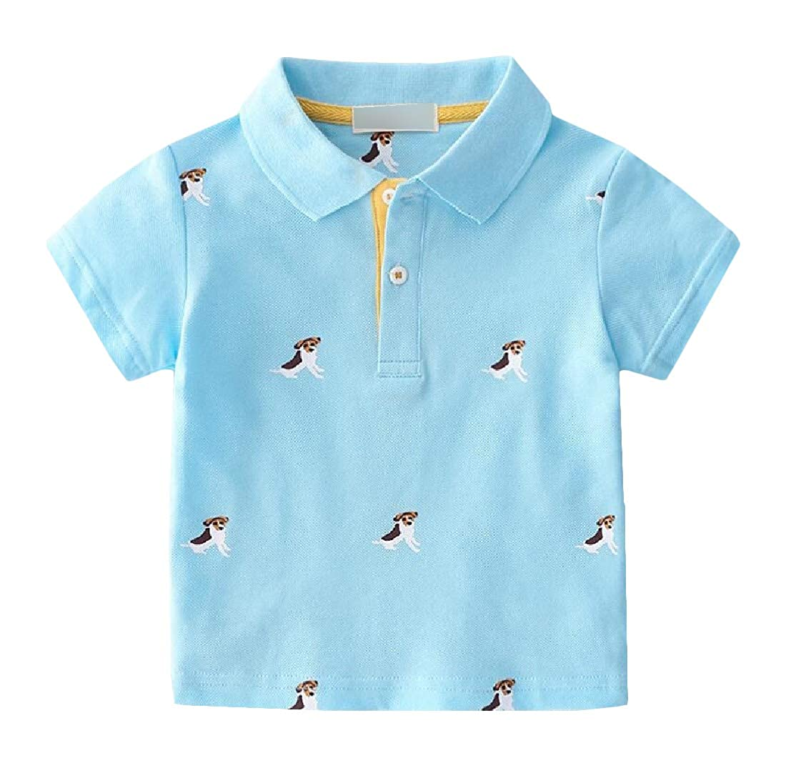 Wofupowga Boys Slim Polos Short Sleeve Top Printed T-Shirt