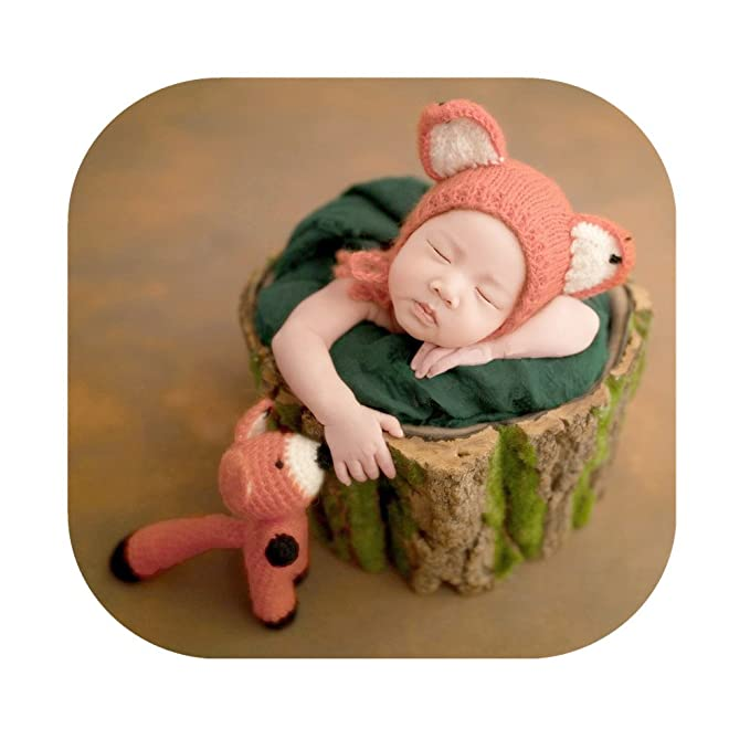 29e28fcb44b6 Amazon.com  Newborn Baby Photo Props Outfits Fox Hat Doll for Boys ...