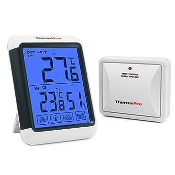 ThermoPro TP65S Inalámbrico Termómetro Higrómetro Digital Exterior y Interior con Gran Pantalla táctil y Retroiluminación azúl