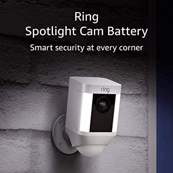 Ring Spotlight Cam Battery Hd Security Camera With Built Two Way Talk And A Siren Alarm White Works With Alexa Amazon Ca