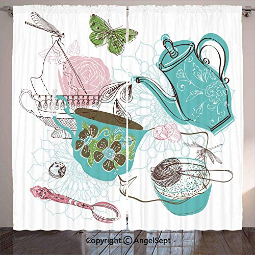 Blackout Curtains for Kitchen,Rose Flowers Teapot Dragonfly Nuts Kitchen Cake Sweet Doodle Artwork Print,Home Decoration Curtain Set for Café, Bath, Laundry, Bedroom Rod ket,Multicolor,W ()