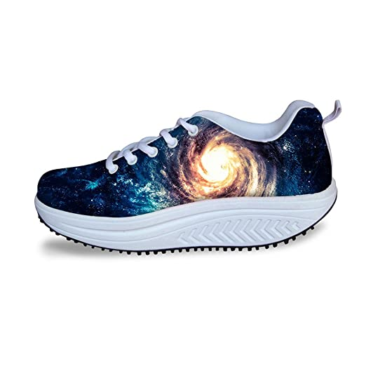 59dcf9475ee5e Amazon.com: Comfort Platform Shoes for Women 3D Galaxy Walking ...