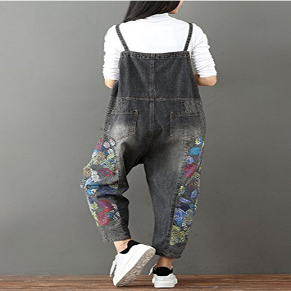 NANGNO Women Old Printing Overalls Jeans Washing Straight Tube Trousers