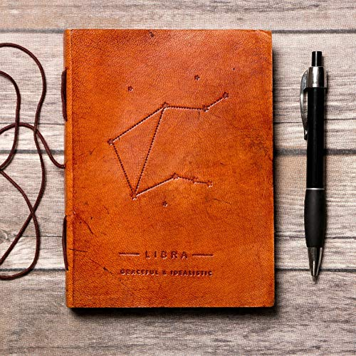 Libra Zodiac Horoscope Handmade Leather Journal, Travel Journal, Embossed Quality Diary, Brown, Soft Cover Writing Organizer - Your Personal Bound Notebook For Travel, Camping, Home, Trips, Scrapbook
