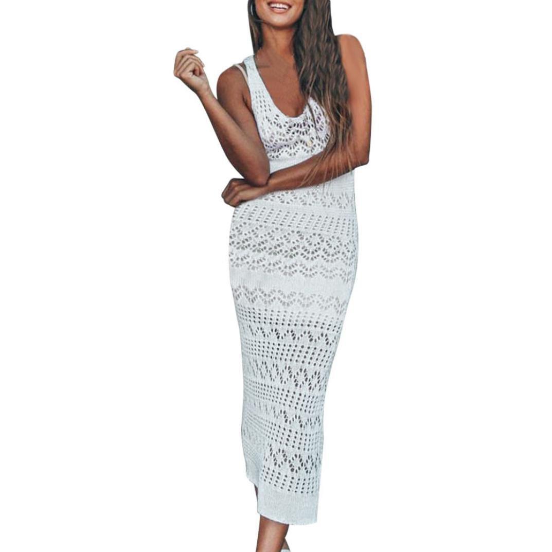 Kimloog Sundress, Women Summer Sleeveless Crochet Hollow-Out Beach Sunscreen Long Dress (Size Free, White) by Kimloog
