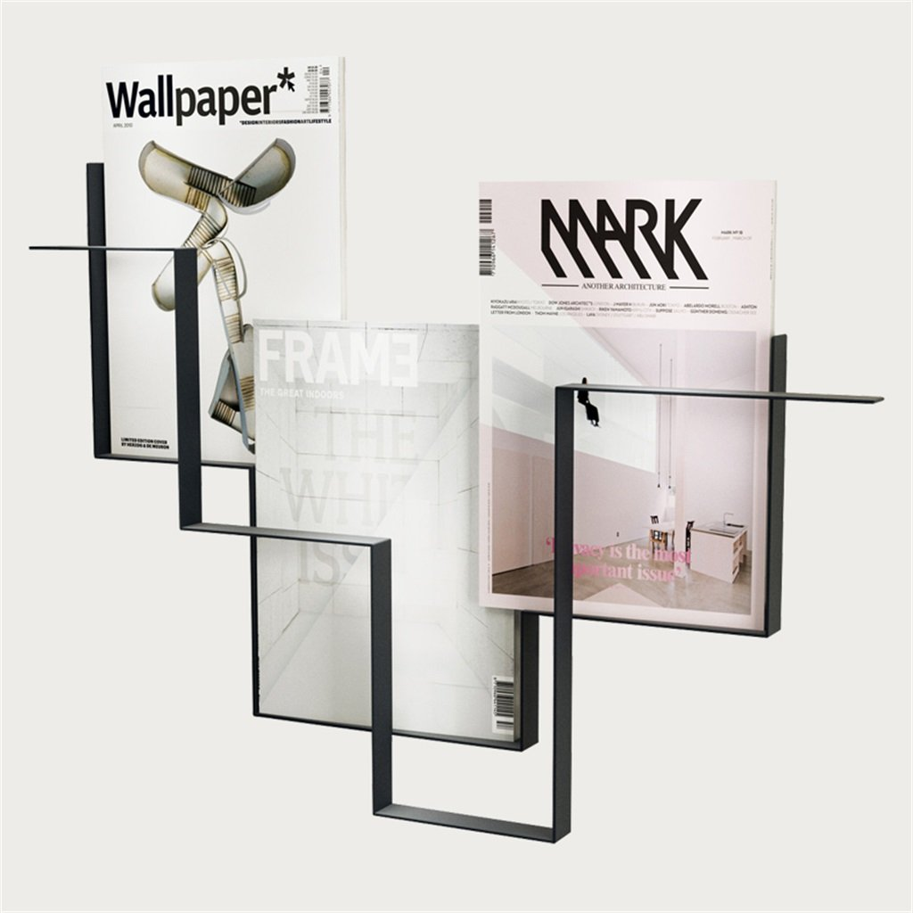 メタルアイアンマガジンラック|新聞ラック壁掛け式|本棚収納ラックとしての壁棚ディスプレイスタンド|壁掛け装飾デザイン (色 : ブラック) B07DKTJ8VM ブラック ブラック