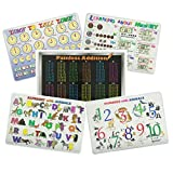 Painless Learning Educational Placematsfor Kids Alphabet, Numbers, Telling Time, Money, Addition Laminated Washable Reversible Activities Set of 5