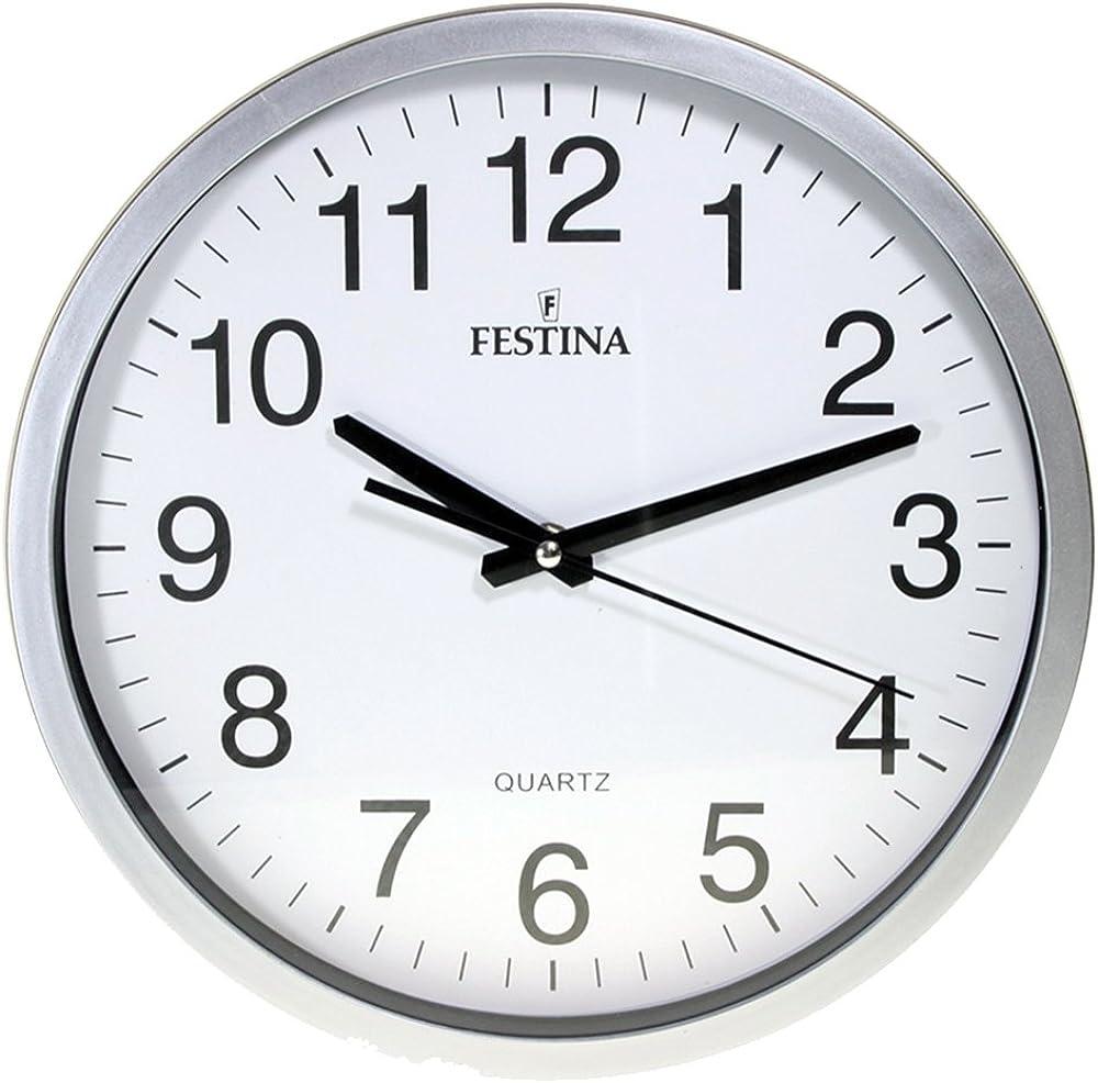 Reloj DE Pared Plata Esfera Blanca
