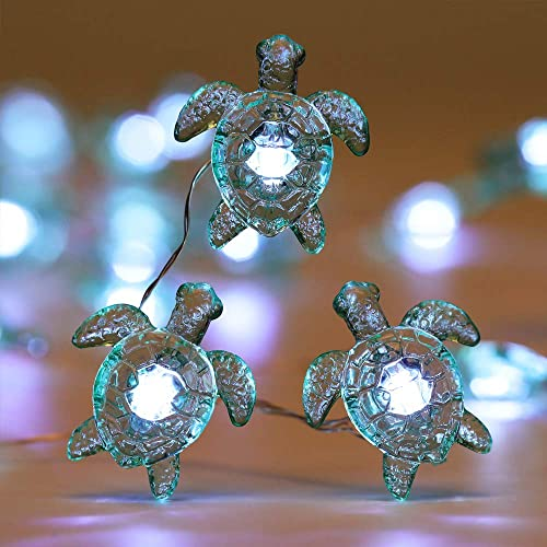 WSgift Sea Turtle Decorative String Lights, 18.7 Ft 40 LED USB Plug-in Silver Copper Wire Beach Theme Fairy Lights for Indoor Outdoor Decoration Projects Cool White, Remote Control with Timer