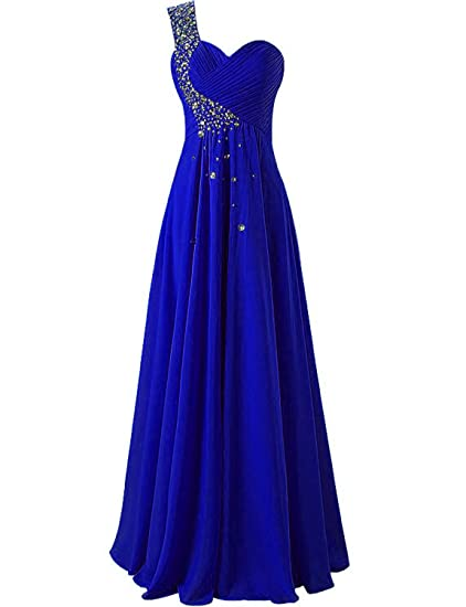 Review Bridesmaid Dresses Prom Dress Long Chiffon One Shoulder Evening Gown Party Dress