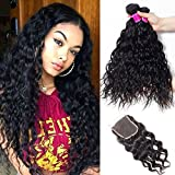 RECOOL Brazilian Water Wave Hair Bundles with Closure 8a Virgin Hair Extensions Wet and Wavy Human Hair Bundles and Closure Natural Color Can be Dyed (14 16 18+12)