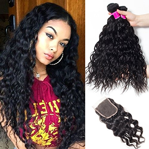 RECOOL Brazilian Water Wave Hair Bundles with Closure 8a Virgin Hair Extensions Wet and Wavy Human Hair Bundles and Closure Natural Color Can be Dyed (14 16 18+12) by RECOOL