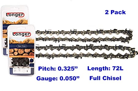 Homelite Echo Poulan McCulloch tallox 3 18 Inch Chainsaw Chains .325 Inch Gauge .050 Inch Pitch 72 Drive Links fits Craftsman