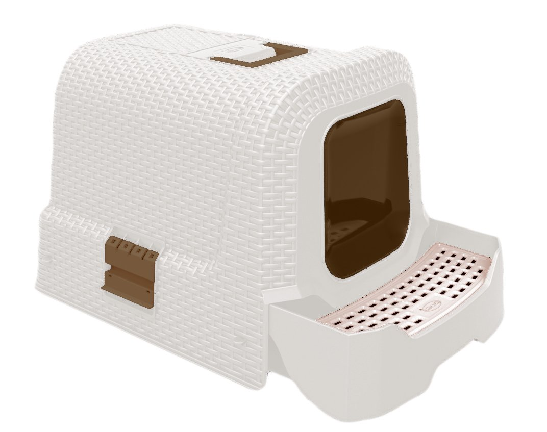 Deluxe Covered Litter Box with Removable Tray, Scoop, and Bags