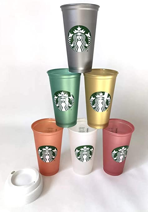 Starbucks Reusable Cup Collection Pack Of 6 W Lids Holiday 2018