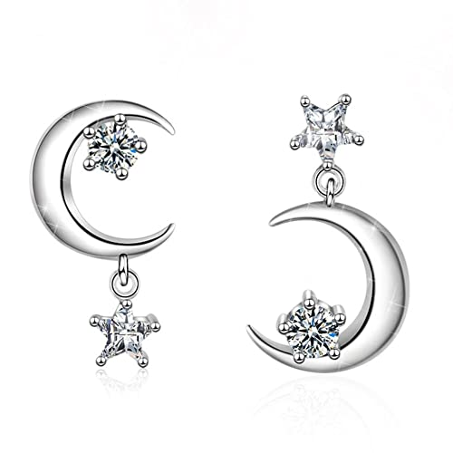 34113adc6 FarryDream 925 Sterling Silver CZ Crystal Star Moon Earrings for Women Teen  Girls Sparkling Asymmetric Earrings