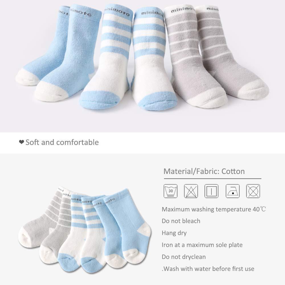 Light Blue+White+Light Gray Minimoto 3Pairs Baby Long Tube Socks Ankle Cotton Unisex Toddler Winter Thick Warm Stockings for 6-12 Months Unisex Newborn Infant
