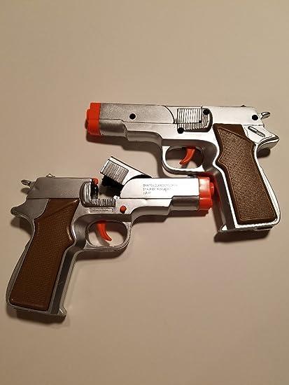Amazon com: New Toy Gun Military Detective 2X 9MM Pistol Cap