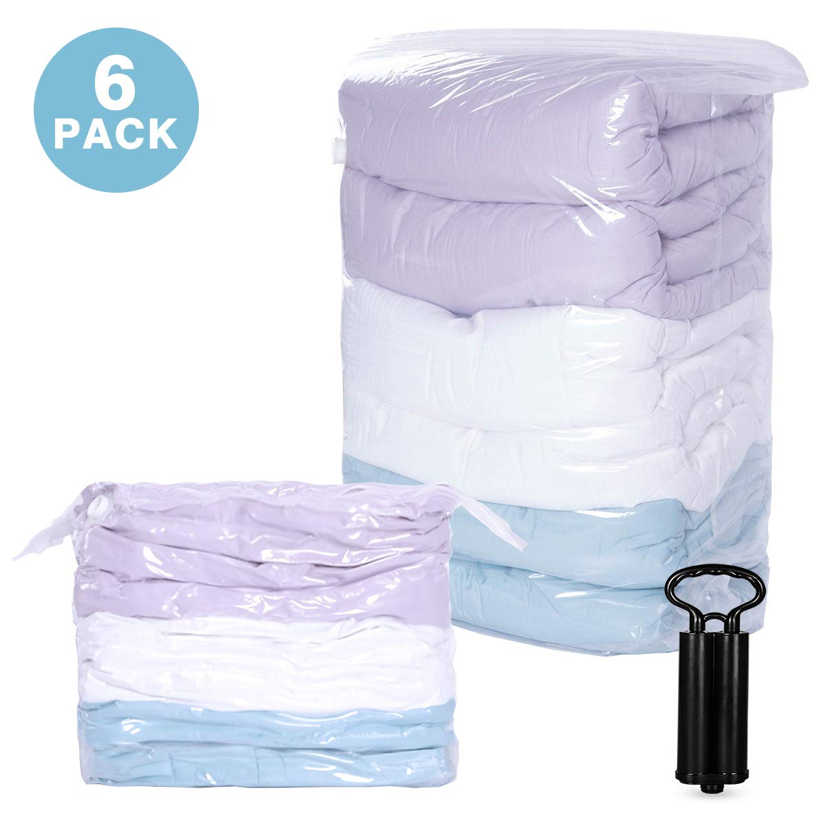 Hi Storage Cube Space Saver Vacuum Storage Bags |6 PCS JUBMO 31''x40''x15''| Vacuum Compression Bags with Travel Hand Pump Included for Comforters, Pillows, Bedding, Blankets by Hi Storage