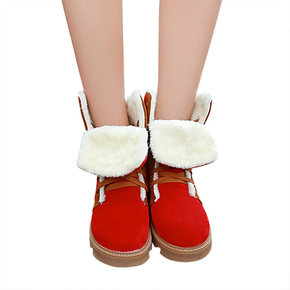 Optimal Womens Winter Snow Boots Fully Fur Lined Warm Ankle Boots Lace Up Booties Skid Resistant