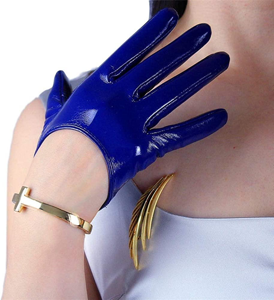 DooWay Royal Blue Faux Patent Leather Gloves PU Women Shiny Evening Party Sexy Finger Mittens Gloves