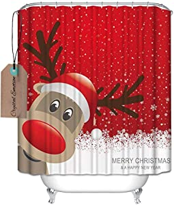 Crystal Emotion Decration colletion Decor,Bath Decor, Waterproof Polyester Shower Curtain with Christmas Reindeer Merry Christmas Happy New Year