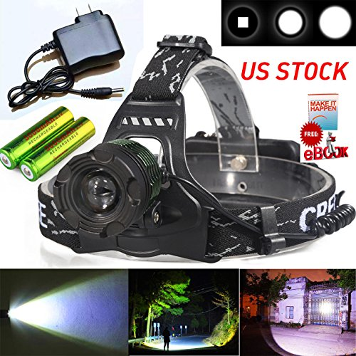 YGSell 20000 Lumen Headlamp Rechargeable 18650 Flashlight XML T6 Zoomable LED Head Light Waterproof | 2 Batteries | Charger