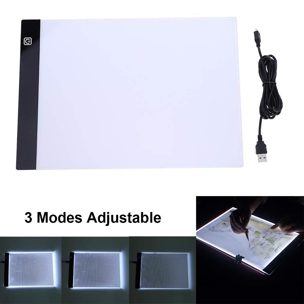 Evilandat A4 LED Tablette Lumineuse Luminosit/é R/églable avec C/âble USB Reprographie pour Croquis Architecture Calligraphie