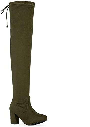 85038bff6736 Amazon.com  ShoBeautiful Women s Thigh High Boots Stretchy Over The Knee  Chunky Block Heel Boots  Shoes