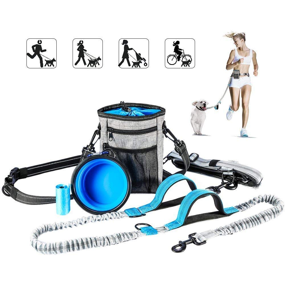 Hands Free Dog Leash with Training Treat PouchReflective Shock Bungee Endure up to 150 lbsComfort & Safe Dual Handle and Waist Belt Bonus Collapsible Bowl and Waste Bags for Running Walking Hiking