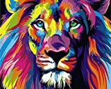 """iCoostor Paint By Numbers DIY Acrylic Painting Kit For Kids & Adults By 16"""" x 20"""" Colorful lion Pattern With 3 Brushes & Bright Colors…"""