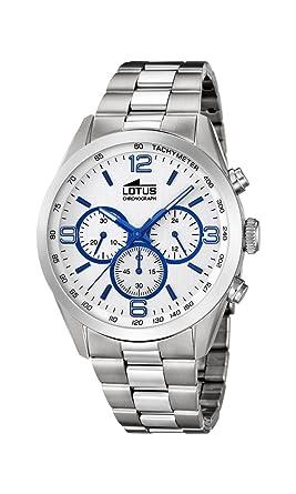 69be5645c5c7 Lotus Watches Reloj Cronógrafo para Hombre de Cuarzo con Correa en Acero  Inoxidable 18152 3  Amazon.es  Relojes
