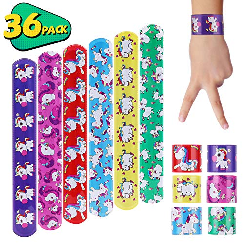 AwesomeWare 36 Pack Unicorn Slap Bracelets | Slap Bands Party Supplies Favors with 6 Design | Birthday Party Snap Bracelets As Team Logo, Rewards, Fits Most Kids, Boys, Girls & Adults