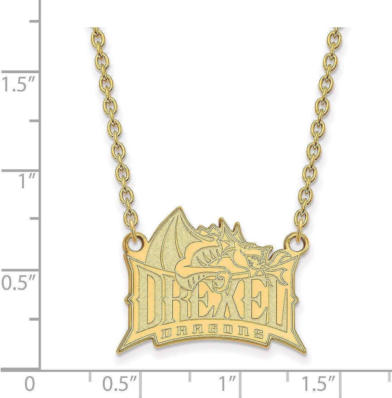 Lex /& Lu LogoArt Sterling Silver w//GP Drexel University Large Pendant w//Necklace