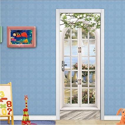 Carta Parati Porta 3d 77x200cm Adesivo per Porte Poster per porte PVC Rimovibile Autoadesivo impermeabile Porta Mural Bagno Cucina Soggiorno Camera fotomurali Wallpaper arco