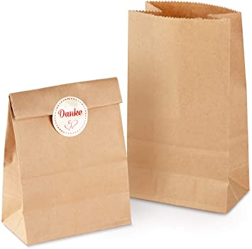 50x Mini FLACHBEUTEL Papier Kraftpapier Tüten Tütchen Geschenktüten Papiertüten
