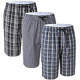 #7: Men's 100% Cotton Plaid Soft Sleep Lounge Pajama Bottoms Shorts 3 Pack