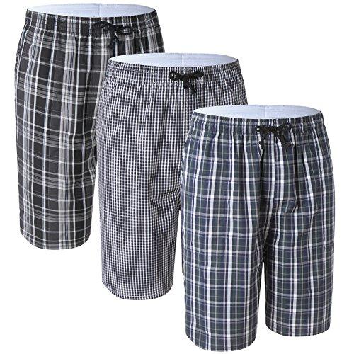 3 Pack Men's Cotton Super Soft Plaid Pajama Pants/Lounge Bottoms with Pockets -
