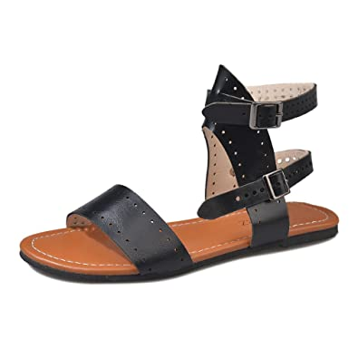81099ce35 Yying Womens Peep Toe Sandals Fashion Flats Shoes Spring Summer Vintage  Gladiator Roman Sandals Slingback Buckle