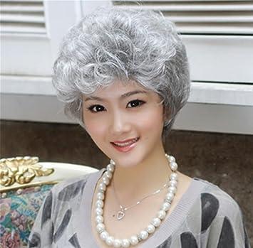 Peluca dama, abuela anciana pelo corto y rizado, la anciana COS flor de pelo