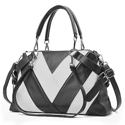 abcf19491ca BestoU Bolsos Mujer grandes Bolsos de hombro Shopper bolso tote PU Piel  negro(Negro)