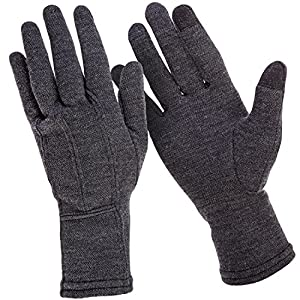 MERIWOOL Merino Wool Unisex Glove Liners for use with Touch Screens in Charcoal Grey – Small