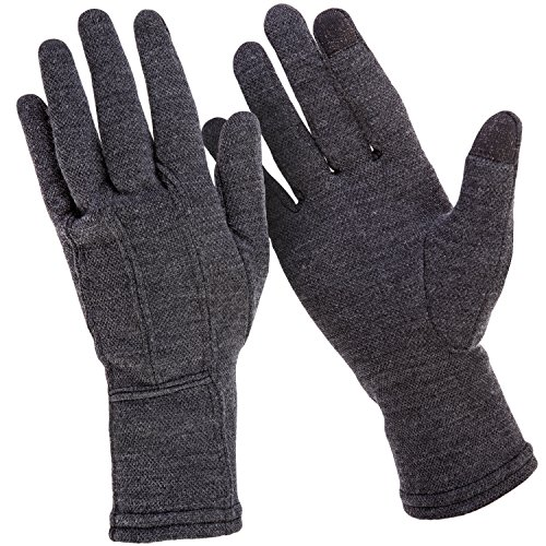 MERIWOOL Merino Wool Unisex Glove Liners for use with Touch Screens in Charcoal Grey – Medium