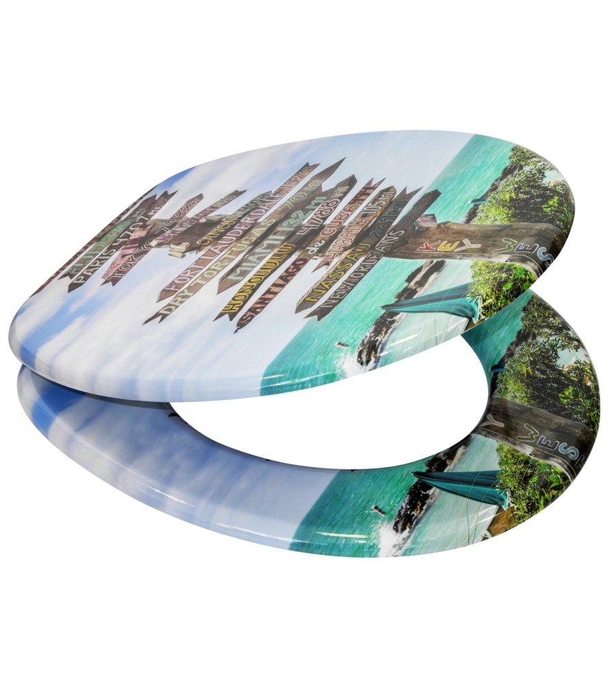SANILO Key West Fixation facile Grande s/élection Abattant WC frein de chute soft close Finition de haute qualit/é