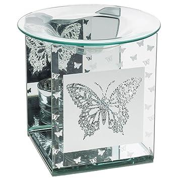 mirrored glass butterfly designed oil burner wax melt warmer jd