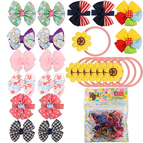 16 PCS Baby Girls Hair Bows Clips Hairpin Barrettes,100 PCS Multi Color Hair Holder Hair Tie Elastic Rubber Bands for Baby Girls, 8 PCS Cute Girls Sunflower Smiley Hair Tie Bands Ropes Ponytail Holder - Hair Ribbons Bows