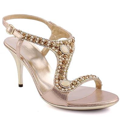 66fca7b2a Unze New Women Ladies INCRUSTAR Gemstone Embellished Evening Party Wedding  Prom Slingback High Heel Sandals Shoe