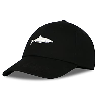 3b37383ccba Himozoo Women Men Baseball Cap 100% Cotton Washed Shark Embroidery Dad Hat  (Black)