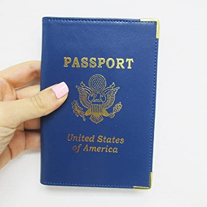 ff2c26660b7d Blue USA Leather Passport Case Wallet Cover Card Case ID Holder US Emblem  Gold